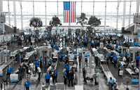 The huge number of TSA security at Denver International Airport are seen clearly when only the blue color is left behind. Photography by Peter Stanley, 2011.