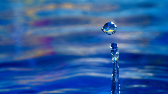 Drops of water with a blue and yellow background. Photography by Peter Stanley, 2012.